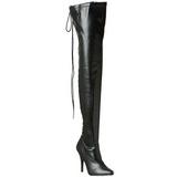 svart matt 13 cm SEDUCE-3063 lange lårhøye støvletter