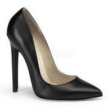 svart matt 13 cm SEXY-20 spisse pumps med stiletthæler
