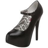 svart matt 14,5 cm Burlesque BORDELLO TEEZE-07 platå pumps høy hæl