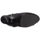 svart matt 15 cm DELIGHT-1019 høye ankelstøvletter med frynser til dame