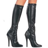 svart matt 15 cm DOMINA-2000 høye hæler støvler dame