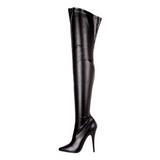 svart matt 15 cm DOMINA-3000 lårhøye støvler til menn