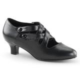 svart matt 5 cm DAME-02 dame pumps sko flate hæl