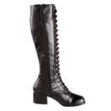 svart matt 5 cm RETRO-302 høye dame støvler med snøring