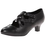 svart matt 5 cm retro vintage DAME-02 dame pumps med lave hæl