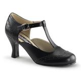 svart matt 7,5 cm retro vintage FLAPPER-26 dame pumps med lave hæl