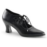 svart matt 7 cm retro vintage VICTORIAN-03 dame pumps med lave hæl