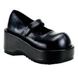 svart matt 8,5 cm DOLLIE-01 gothic pumps sko dame platå