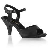 svart matt 8 cm BELLE-309 dame sandaletter lavere hæl