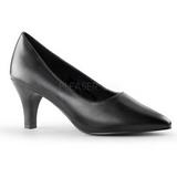 svart matt 8 cm DIVINE-420W dame pumps med lave hæl