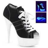 svart neon 15 cm DELIGHT-600SK-01 canvas joggesko med høye hæler