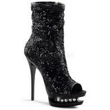 svart paljetter 15,5 cm BLONDIE-R-1008 korte støvler platå