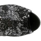 svart paljetter 15 cm PLEASER BLONDIE-R-3011 overknee støvler platå