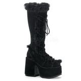svart pels 13 cm CAMEL-311 gothic støvler dame platå