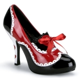 svart rød 10,5 cm QUEEN-03 høye damesko med hæl