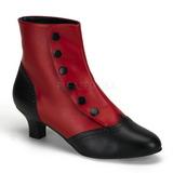svart rød 5 cm FLORA-1023 dame ankelstøvletter