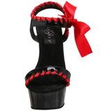 svart rød lakk 15 cm DELIGHT-615 høye hæler stilett sko
