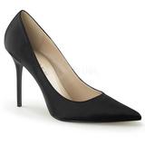 svart satin 10 cm CLASSIQUE-20 store størrelser stilettos sko