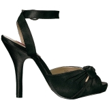 svart satin 12,5 cm EVE-01 store størrelser sandaler dame