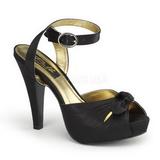 svart satin 12 cm PINUP COUTURE BETTIE-04 platå høye hæler sko
