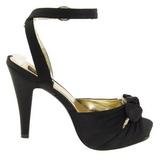 svart satin 12 cm PINUP COUTURE retro vintage BETTIE-04 platå høye hæler sko