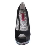 svart satin 13,5 cm BELLA-12R strass platform pumps sko