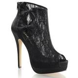 svart satin 13,5 cm BELLA-28 peep toe platå ankel høye støvler