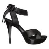 svart satin 13 cm COCKTAIL-568 høyhælte sandaler sko