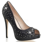 svart satin 13 cm HEIRESS-22R strass platform pumps sko