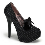 svart satin 14,5 cm Burlesque BORDELLO TEEZE-01 platå pumps høy hæl