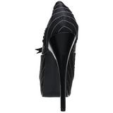 svart satin 14,5 cm Burlesque BORDELLO TEEZE-01 platå pumps høy hæl
