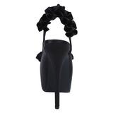 svart satin 14,5 cm Burlesque TEEZE-56 platå høyhælte sandaler sko
