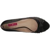 svart satin 5 cm FAB-422 store størrelser pumps sko