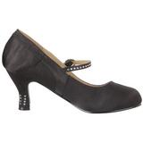 svart satin 8 cm FLAPPER-20 dame pumps med lave hæl