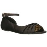 svart satin ANNA-03 store størrelser ballerina sko