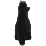 svart semskede 7,5 cm KIMBERLY-102 store størrelser ankelstøvletter dame