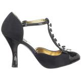 svart semsket 10 cm SMITTEN-10 Rockabilly dame pumps med lave hæl