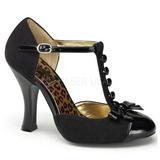 svart semsket 10 cm SMITTEN-10 dame pumps sko flate hæl