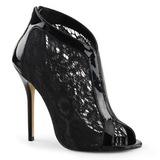 svart stoff 13 cm AMUSE-48 høye pumps fest sko med hæl