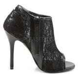 svart stoff 13 cm AMUSE-56 høye pumps fest sko med hæl