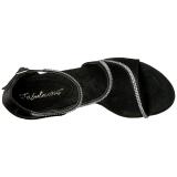 svart strass 13 cm COCKTAIL-526 plattform høyhælte sko