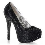 svart strass 14,5 cm TEEZE-06R høye platform pumps sko