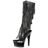 svart strass 16,5 cm ILLUSION-2017RSF høye støvletter med frynser til dame