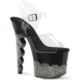 svart strass steiner 18 cm SCALLOP-708-2RS pole dancing sko