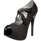 svart stripete 14,5 cm Burlesque TEEZE-23 høye damesko med høy hæl