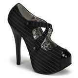 svart stripete 14,5 cm TEEZE-23 høye damesko med høy hæl