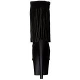 svart suede 18 cm ADORE-1019 høye ankelstøvletter med frynser til dame