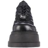 svart vegan 12 cm STOMP-08 lolita ankelstøvletter kilehæler platå
