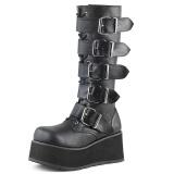 svart vegan 8,5 cm TRASHVILLE-518 demonia støvler - unisex platåstøvler