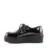 svarte 5 cm CREEPER-108 rockabilly creepers sko - dame platåsko
